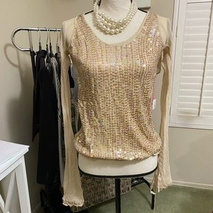 Arden B Silk Shimmer Holiday L/S Blouse